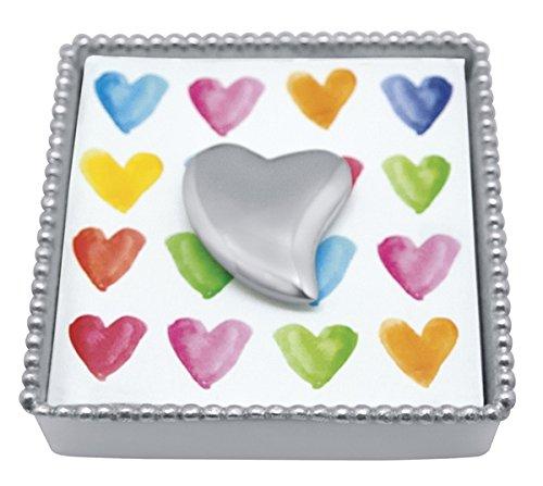 - Mariposa 1321-C Heart Beaded Napkin Box, One Size, Silver
