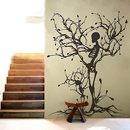 AmericanVinylDecor Gothic Wall Decal Halloween Decor Skeleton Art Sticker Tree Wall Art For Living Room