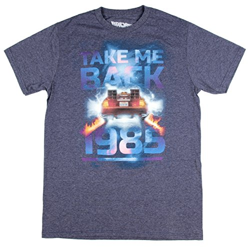 (Hybrid Back to The Future Men's Take Me Back to 1985 Navy Heather T-Shirt Delorean)