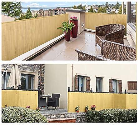 wolketon Valla de PVC, Bambú 80x400cm, Persiana de Balcón de ...