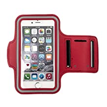 HSL Sports Running Jogging Gymnastics Armband Arm Band Case Cover with Key Holder Slot for iphone6/Samsung Galaxy S6/Edge-Red