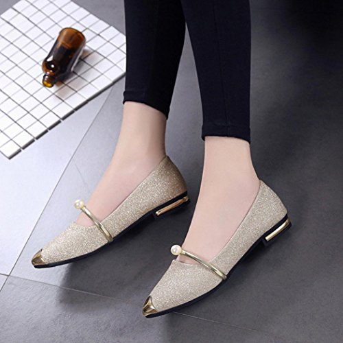 Gold Pointy Classic Ballet Shoes Toe Pumps Flats On Slip Heel Womens Pumps Low naE7xw7