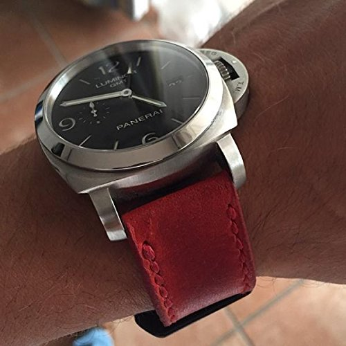 Custom 24mm Handmade Premium Calf Leather Watch Band Gunny Straps - Vintage Red