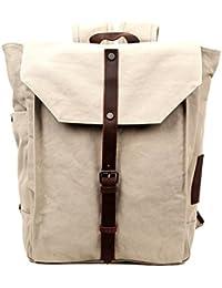 Nova Backpack Genuine Canvas and Leather Bag (Ivory)