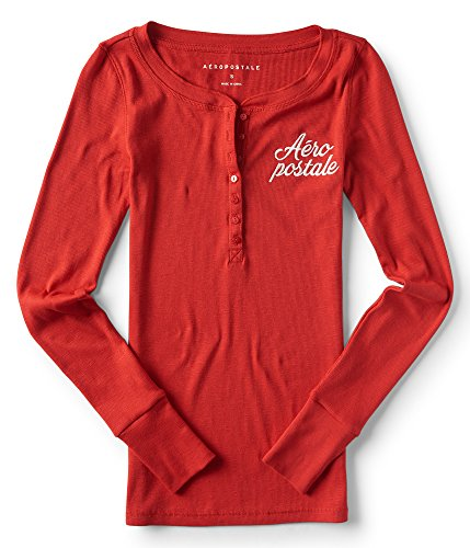 Aeropostale Long Sleeve Aeropostale Henley Top Large Vinyl Red (Aeropostale Clothing)