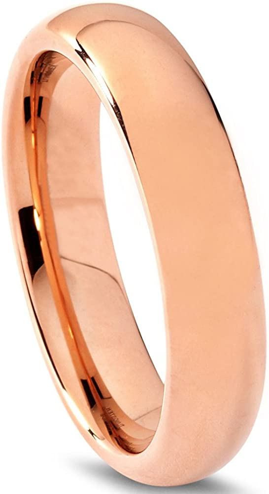 Tungsten Wedding Band Ring 5mm for Men Women Comfort Fit 18k Rose Gold Plated Dome Polished