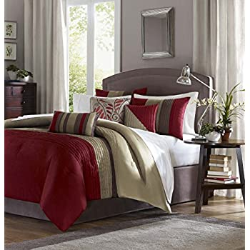 b12aef6a766 Madison Park Amherst Queen Size Bed Comforter Set Bed in A Bag - Burgundy
