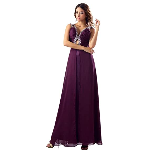 Dearta Womens Sheath/Column V-Neck Floor-Length Prom Dresses US 2 Grape