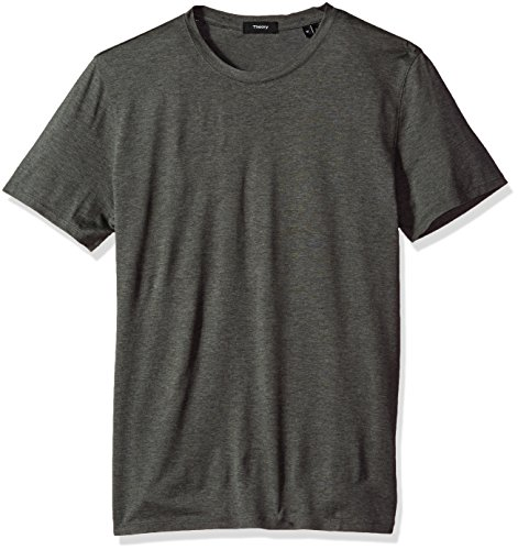 Silk Cotton Crewneck T-shirt (Theory Men's Claey Plaito Dressy Crew Neck T-Shirt, Charcoal, M)