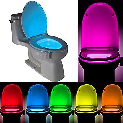 Para inodoro luz, colorida lámpara de luz LED de Noche, cuarto de baño Sensor