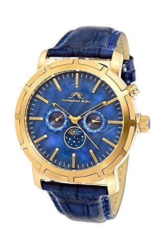 Porsamo Bleu Luxury NYC Moon Genuine Leather Gold Tone & Blue Men's Watch with Sun & Moon Display 058BNYL