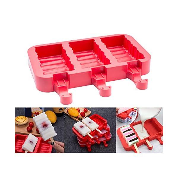 Popsicle Molds Stampo Per Gelato Popsicle Maker Popsicle Stampi Ghiacciolo Rosso Rettangolo Con Popsicle Stick… 2 spesavip