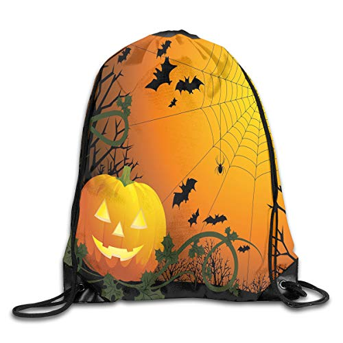 Drawstring Backpacks Bags,Halloween Themed Composition With Pumpkin Leaves Trees Web And Bats,5 Liter Capacity,Adjustable -