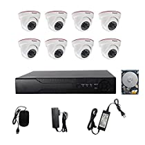 KORANG 1080P 8CH Surveillance DVR Kit System With 2TB Pre-installed HDD 2.0 Megapixel 8 Channel Indoor Infrared HD Security AHD Dome Camera Kit