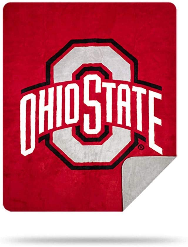 Denali Ultimate Comfort NCAA Team Throw Blanket, Plush, Hand-Stitched, Super Cozy Sports Blankets Made in The USA, Ohio State Buckeyes
