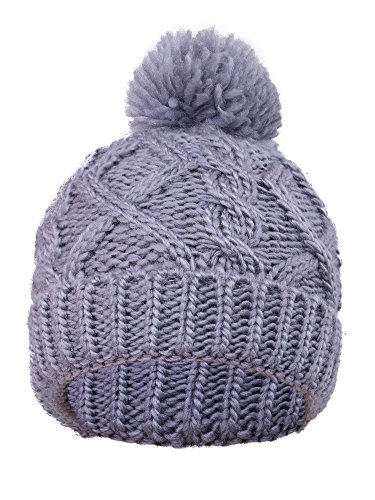 Arctic Paw Cable Knit Beanie with Yarn Pompom, Grey (Arctic Beanie)