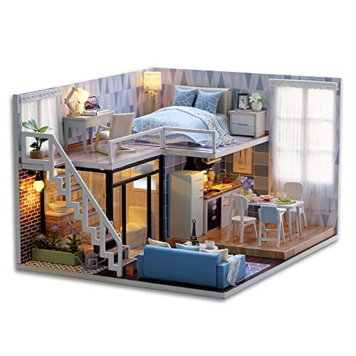 SEAKY DIY Wooden Dollhouse with Miniature Furniture Accessories, 1:24 Scale Miniature Handmade 3D Puzzle Dollhouse Model Kits Gift Collection Decor Toys, with Music Movement Dust Cover (Blue time) - Handmade Dollhouse Furniture