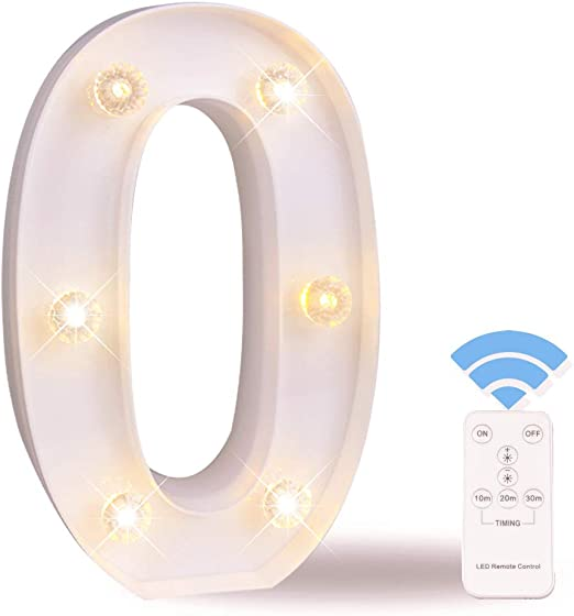 LED Number Lights White Marquee Letters Light Up Sign with Diamond Bulbs Remote Control Timer Dimmable Birthday Party Anniversary Wedding Decoration, Number 0