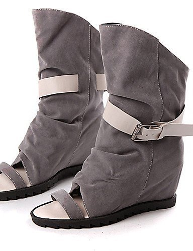 ShangYi Womens Shoes Heel Peep Toe Sandals Outdoor / Dress / Casual Black / Gray/Q1 gray
