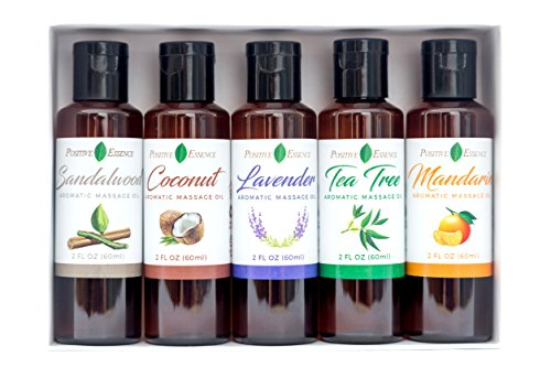 Aromatic Massage Oil Gift Set – Coconut, Lavender, Tea Tree, Mandarin, Sandalwood Scents – Made with Jojoba, Vitamin E and PURE ESSENTIAL OILS - Therapeutic Body & Mind Relaxation