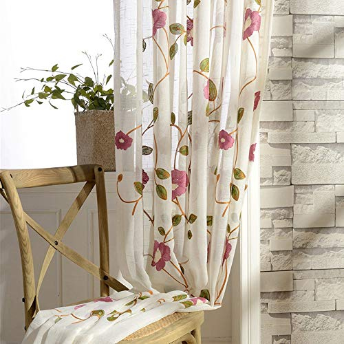 WINYY Rustic Embroidered Floral Window Curtain Kitchen Living Room Balcony Sheer Curtain Rod Pocket Top Linen Polyester Blend Curtain Voile Tulle 1 Panel W114 x H84 inch For Sale