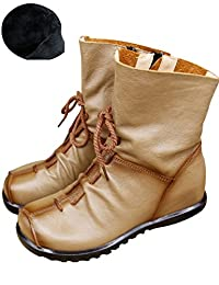 Zoulee Women's Side Zipper Leather Ankle Boot Height Increasing Wedges Boots