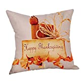 Gotd Happy Fall Thanksgiving Maple Leaf Pillows Cases Covers Decorative Christmas Protector Bed Chair Couch Sofa Waist Throw Cushion Home Decor Square 45cm 18x18 inch (Beige E)