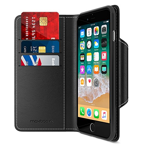 Maxboost iPhone 8 Plus Wallet Case [Folio Style] [Stand Feature] mWallet Apple iPhone 8 Plus (2017) /iPhone 7 Plus [Black] Protective Credit Card Leather Cover [Card Slot+Side Pocket] Magnetic Closure