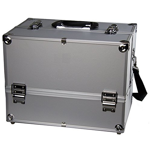"""Makeup Train Case - Professional 14"""" Large Make Up Artist Organizer Kit - Shoulder Bag With Adjustable Dividers, 4 Trays & Key Lock - The Cosmetic Studio Box Is Designed To Fit all Cosmetics - Silver"""