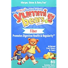 Yummi Bears Fiber Supplement Gummy Vitamin for Kids, 60 Count Gummy Bears