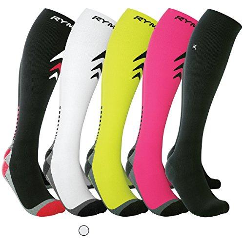 Rymora Compression Socks (Cushioned, Graduated Compression, Seamless Toe Seams) (One Pair) (White) (US Men: 8-11/US Women: 9-12)