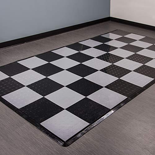 Tiles Floor Fit (Incstores Diamond Nitro Tile - Motorcycle Mats (Black/Gunmetal))