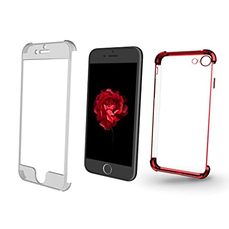 XUNDD Funda iPhone 7, Carcasa PC Dura y TPU Gel Silicona Suave Flexible Tapa Anti-rasguños Transparente Case Cover para iPhone 7 (4.7 Pulgadas)-Rojo