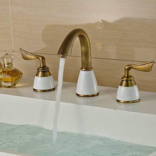 Beelee Luxury Two Handles Deck Mount Bath Tub Faucet Antique Brass Finish Bathroom Sink Faucet Bronze Widespread Bathroom Sink Faucet, Antique Brass Finished by Beelee (Image #1)