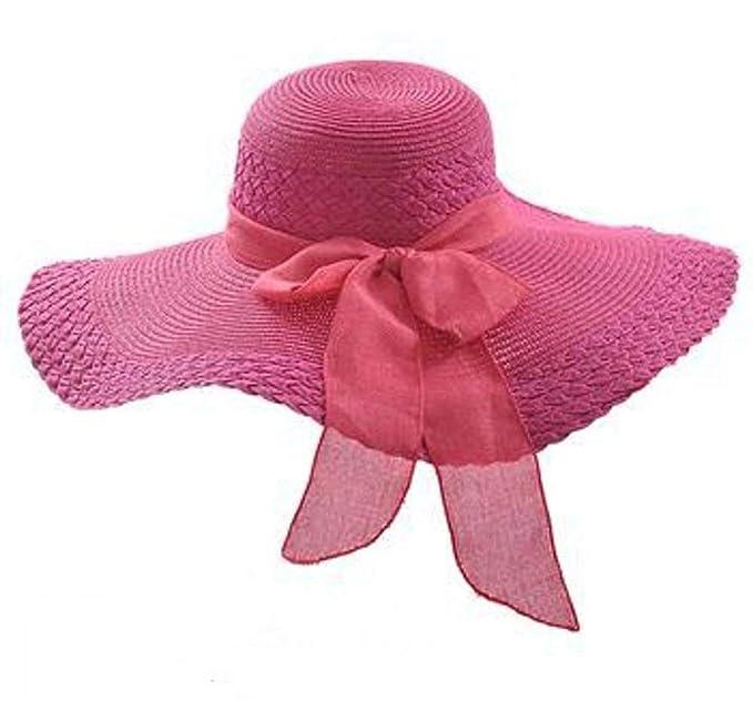 Sombrero De Visera Señora Verano Protector Outdoor Playa Solar Sombrero Gorras Gap Nudo De Mariposa A Lo Largo De ala Ancha Sombrero para El Sol Sombrero ...
