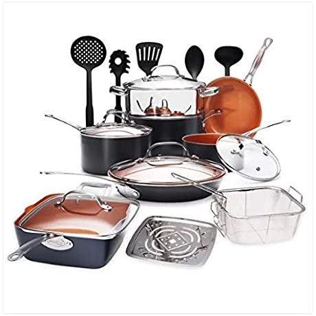 Gotham Steel Ultimate 20 Piece All In One Chef S Kitchen Set With Non Stick Copper Coating Includes Skillets Fry Pans Stock Pots Deep Square Pan Fry Basket 5 Piece Utensil Spatula And More