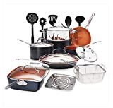 Gotham Steel Ultimate 20 Piece All in One Chef's Kitchen Set with Non-Stick Copper Coating, Includes Skillets, Fry Pans, Stock Pots, Deep Square Pan, Fry Basket, 5 Piece Utensil Spatula And More