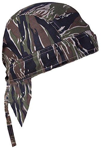 Tiger Cotton Headwrap - Camouflage Doo Rag Skull Cap Camo Bandana Hunting Hunters Head Wrap (Tiger Stripe Camouflage)