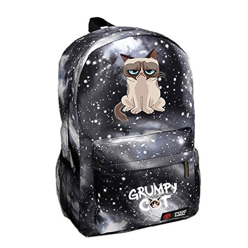 Grumpy Cat Backpack Fashion School Backpack Star Sky Gray