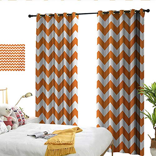 flymeeo Chevron Halloween Pumpkin Color Chevron Traditional Holidays Autumn Season Celebrate Orange White Drapes -