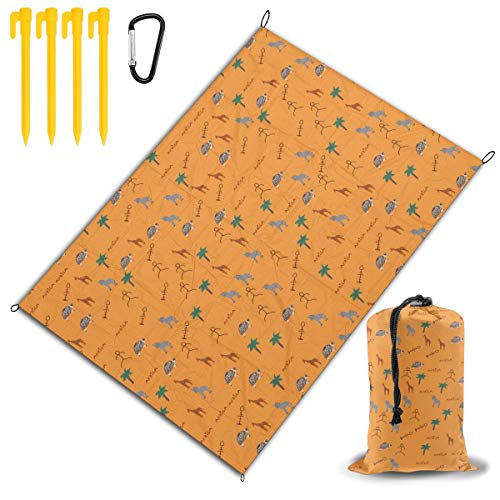 (FUNMAX Zoo African Wildl Animals Giraffe Zebra Picnic Blanket Tablecloth Set Water Resistant for On Grass at The Beach Camping at Stadiums Durable Mat Has Waterproof Backing Outdoor Decorations)