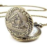 ALIENWOLF Unisex Antique Case Vintage Brass Rib Chain Quartz Pocket Watch Train