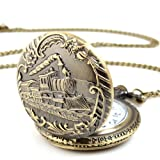 Yesurprise Unisex Antique Case Vintage Brass Rib Chain Quartz Pocket Watch Train, Watch Central