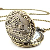 ALIENWOLF Unisex Antique Case Vintage Brass Rib Chain Quartz Pocket Watch Train