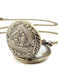 Unisex Antique Case Vintage Brass Rib Chain Quartz pentand necklase Pocket Watch Train Montre de poche