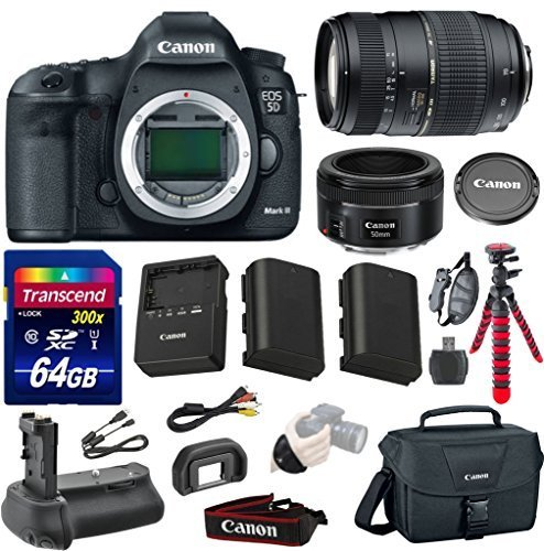 Canon EOS 5D Mark III 22.3 MP Full Frame CMOS Digital SLR Camera with Tamron Auto Focus 70-300mm Zoom Lens + Canon EF 50mm f/1.8 STM Lens + Transcend 64GB Memory Card + Canon Deluxe Case