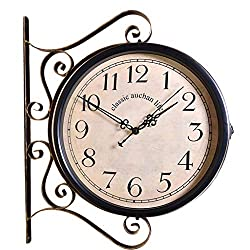 Light Years Double Sided Wall Clock Outdoor On Bracket Train Station Round Clock with Rolling Wall Side Decoration Home Decor Metal (Color : A)