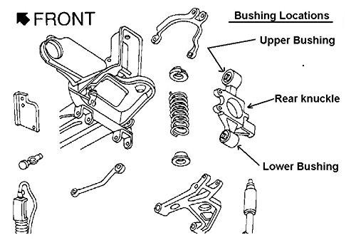 Rear Upper /& Lower Knuckle Bushings 4 Piece Set Kit for Seville Deville Eldorado