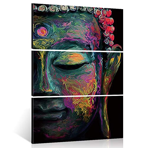 Shuaxin Modern Large Buddha Wall Art Print on Canvas Home Living Room Decorations Wall Art 3 Panel 16x32inch (Framed Ready to Hang) (Buddha Art Prints)
