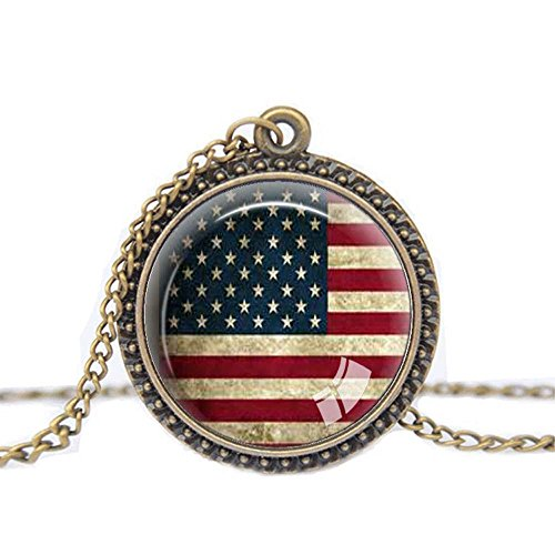 FM42 Vintage Style USA National Flag Round Pendant Necklace with 26